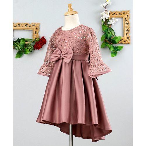 Mark & Mia Sequin & Pearl Work Full Sleeves Dress - Pink