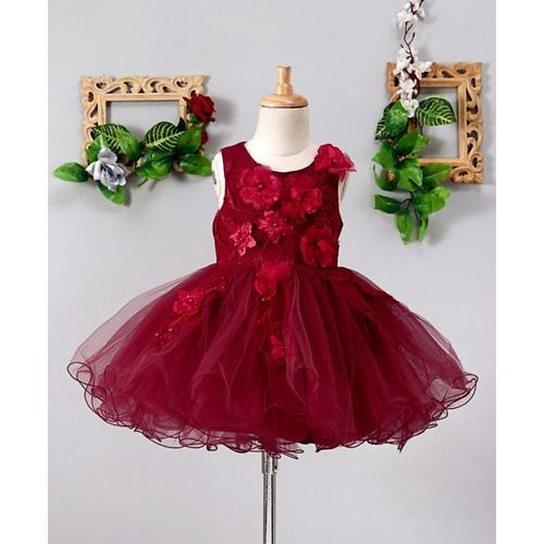 Mark & Mia Big Flowers Embellished Sleeveless Tutu Dress - Maroon