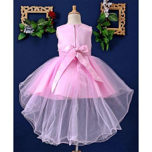 Mark & Mia Flower & Pearls Embellished Sleeveless Net Dress - Light Pink