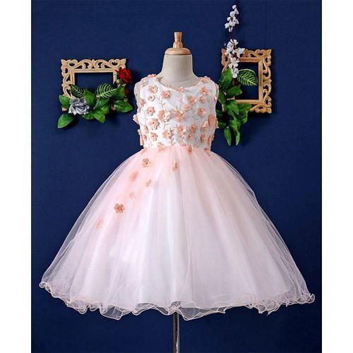 Mark & Mia Flowers Embellished Sleeveless Flared Dress - Peach