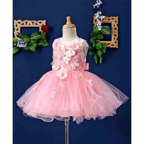Mark & Mia Big Flowers Embellished Sleeveless Tutu Dress - Pink