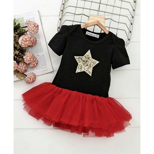 d915bdc477979 Buy Mark & Mia Sequined Star Design Half Sleeves Onesie Dress ...