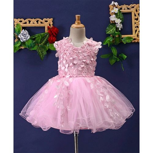 Mark & Mia Sequined & Pearls Embellished Sleeveless Ruffled Net Dress - Pink