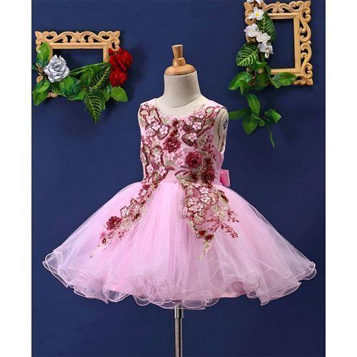Mark & Mia Flowers & Pearls Embellished Sleeveless Net Dress - Pink