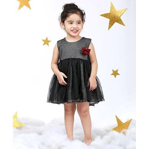 Mark & Mia Rose Applique Sleeveless Net Dress - Black