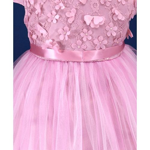 Mark & Mia Flowers Embellished Cap Sleeves Frilly Net Dress - Pink