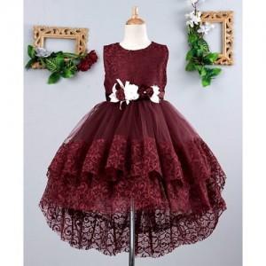 Mark & Mia Maroon Flowers Embellished Sleeveless Net Dress