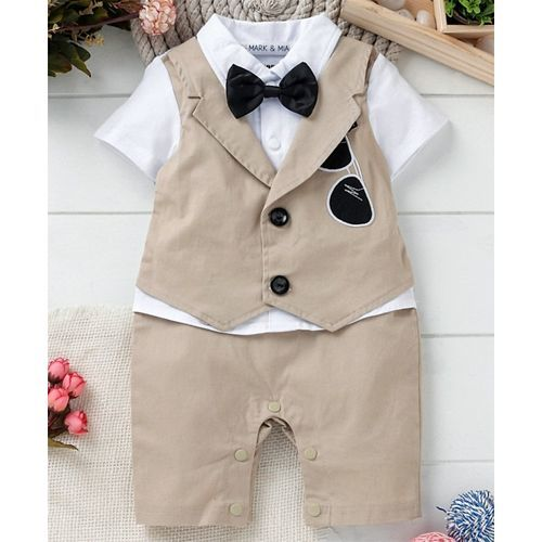 Mark & Mia Half Sleeves Party Wear Romper Goggle Patch - Beige