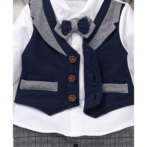 Mark & Mia Mock Waistcoat Houndstooth Print Full Sleeves Romper - Navy