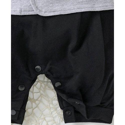 Mark & Mia Short Sleeves Suit Style Romper - Black & Grey