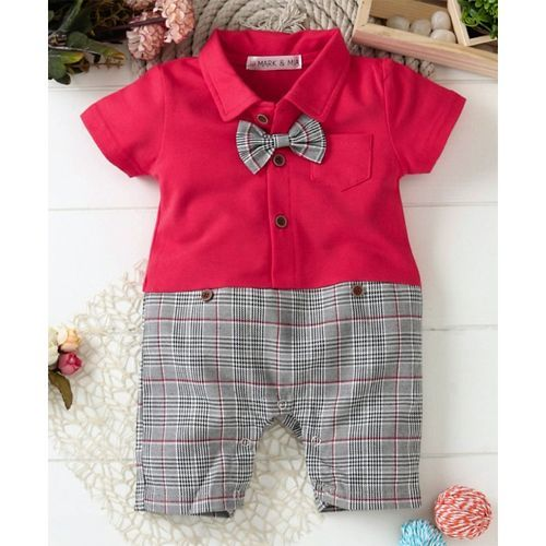 Mark & Mia Short Sleeves Checkered Romper With Bow & Suspender - Red & Grey