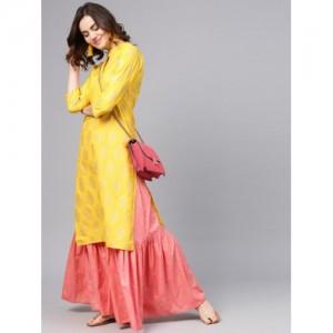 Aasi Yellow & Pink Cotton Printed Kurta with Sharara