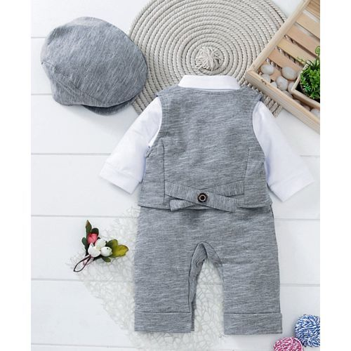 Mark & Mia Solid Full Sleeves Romper With Cap - Grey