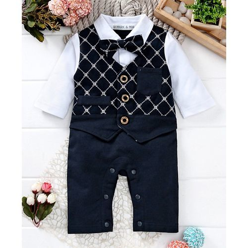 Mark & Mia Printed Full Sleeves Bow Embellished Romper - Navy