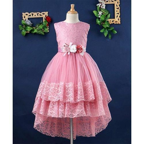 Mark & Mia Flowers Embellished Sleeveless Net Dress - Pink