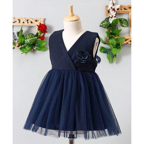 Mark & Mia Rose Applique V Neck Sleeveless Net Dress - Navy