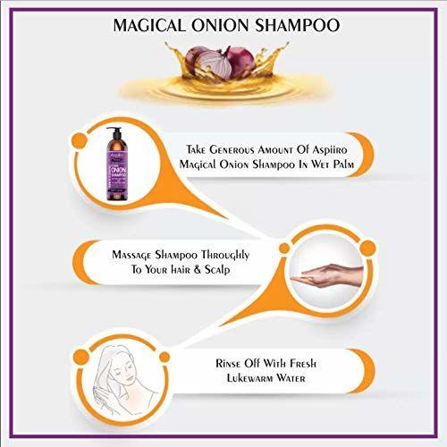 Aspiiro Natural Organic Red Onion Hair Growth Shampoo-200 ml   21 In 1 Magical Shampoo With Caffeine Curry Leaf, Hibiscus, Ginger, Amla & Aloe Vera -SLS,