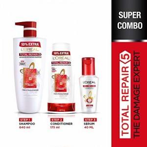 L'Oreal Paris Hair Expertise Total Repair 5 Shampoo, 640ml + L'Oreal Paris Total Repair 5 Conditioner (175ml) + L'Oreal Paris Total Repair 5 Instant Smoothing &