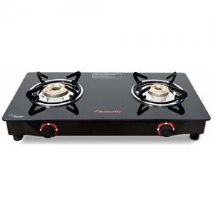 Butterfly Black Smart Glass 2 Burner Gas Stove