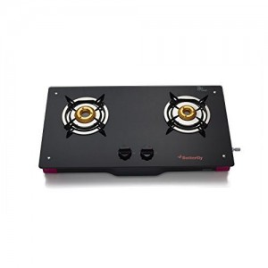 Butterfly Spectra+ 2 Burner Glass Top Stove, Black/Pink