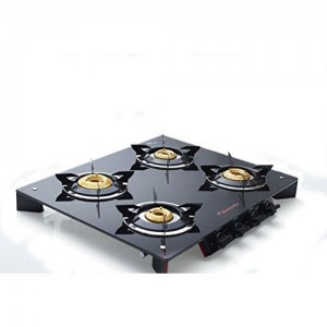 Butterfly Prism 4 Burner Glass Top Stove, Black/Red