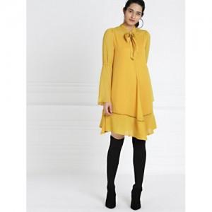 all about you from Deepika Padukone Mustard Pussy-Bow Neck Chiffon Dress