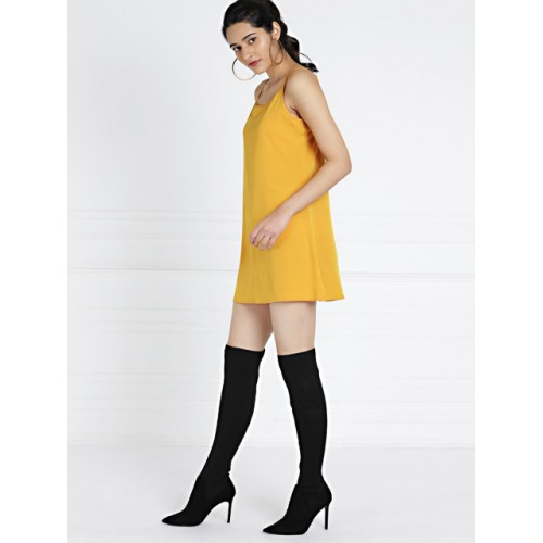 all about you from Deepika Padukone Mustard Pussy-Bow Neck Chiffon Dress