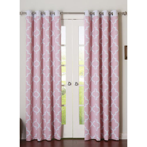Dekor World Set of 2 Pink Cotton Curtains