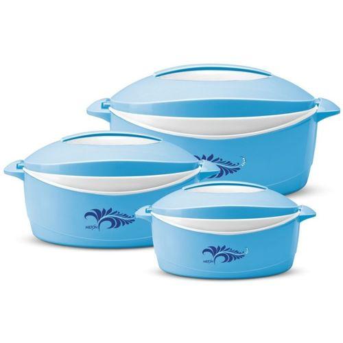 Milton Blue Plastic Delight Pack of 3 Thermoware Casserole Set(3000 ml)