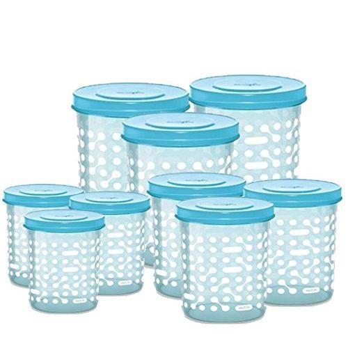 MILTON Plastic Storex Containers, 500ml, 750ml, 1000ml - 3 Each (Aqua Blue, MILTONSTOREX-SET9-50010001500-AB) - Set of 9