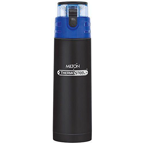 Milton Atlantis-400 Thermosteel Water Bottle,400 ml,Black
