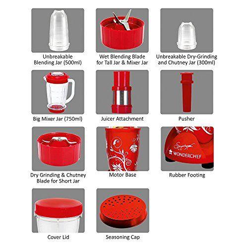Wonderchef Nutri-Blend CKM with 3 Jars (Red)