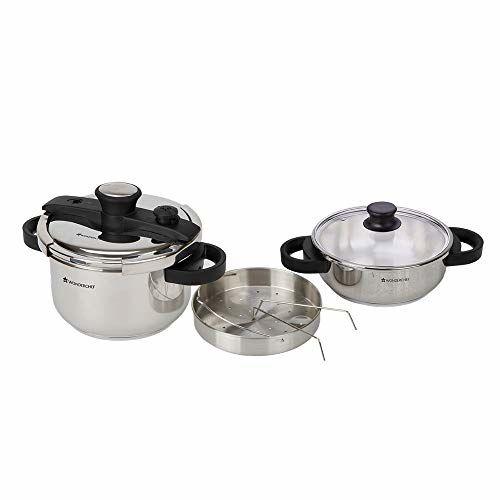 Wonderchef Easy Lock Stainless Steel Pressure Cooker Set, 2 Pieces, Silver