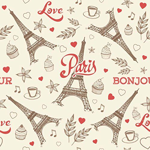 100yellow Paris Design Print Peel & Stick Self Adhesive Decal Wallpaper -44 Sqft