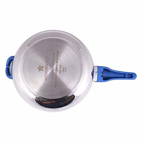 Wonderchef Nigella Handi Pressure Cooker, 5.5 Liter, Silver and Blue