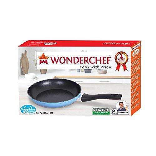 Wonderchef Sapphire Aluminium Fry Pan, 1.5 Liters/24 cm, Blue