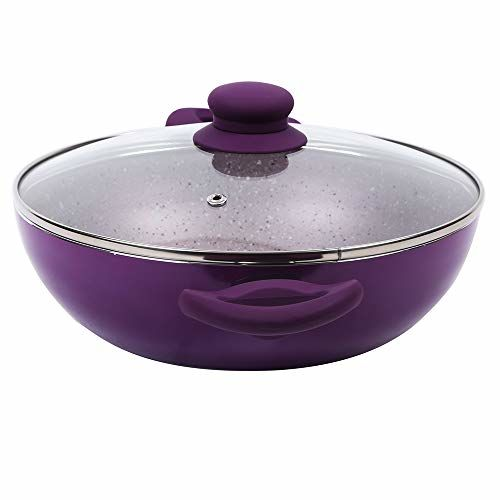Wonderchef Royal Aluminium Wok with Lid, 20cm, Purple