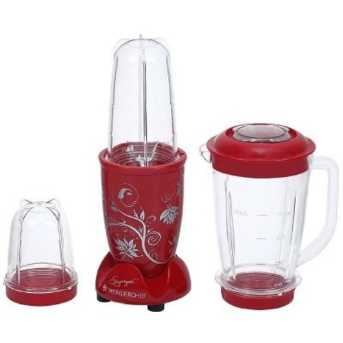 Wonderchef Nutriblend with jar 400 W Juicer Mixer Grinder(Red, 3 Jars)