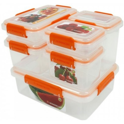 Wonderchef Wonderchef Lockit Container 6Pcs 63151575 - 200 ml, 400 ml, 650 ml, 300 ml, 1 L, 2 L Plastic Grocery Container(Pack of 6, Clear)