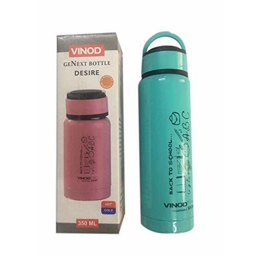 Vinod Inside Stainless Steel Water Bottle for School Kids (Green,350ml)