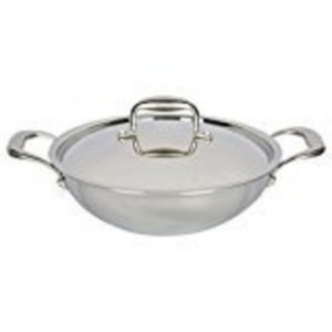 Vinod Platinum Triply Stainless Steel Kadai with Lid, 3.7 litres, Shiny Glossy