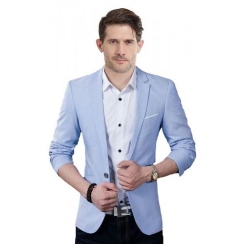 One Click Solid Single Breasted Wedding Men's Blazer(Light Blue)