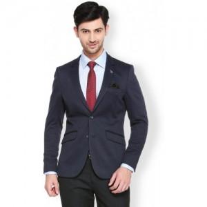 Van Heusen Solid Single Breasted Formal Men Blazer(Blue)