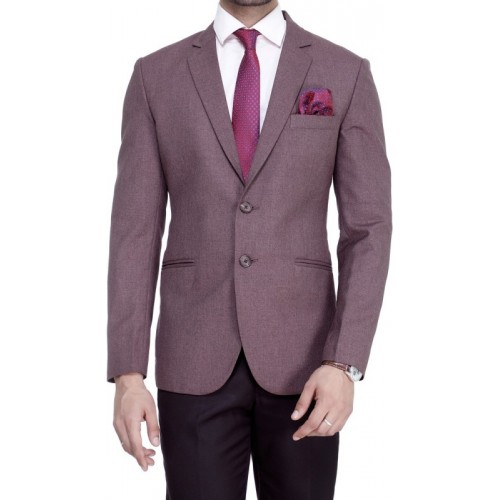 ManQ Solid Single Breasted Formal Men Blazer(Purple)