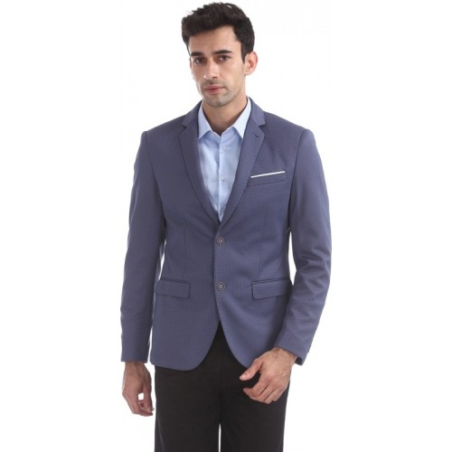 Arrow New York Self Design Single Breasted Party Men Blazer(Blue)