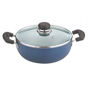 Vinod Cookware Deep Kadai with Lid, 4.1 Litres, Blue/Black