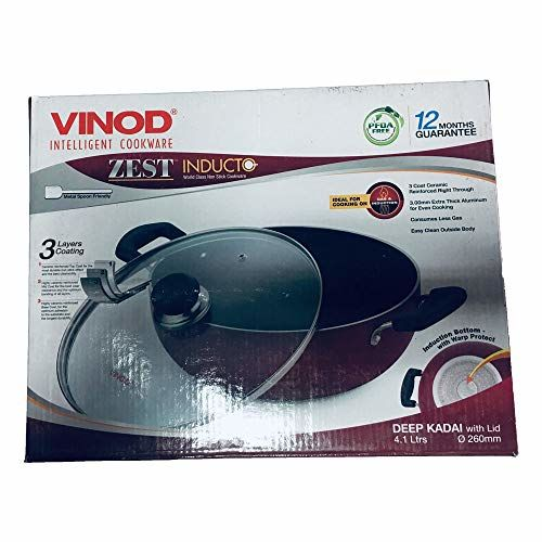 Vinod Deep Kadai with Lid - Induction Non Stick 4.1 LTR