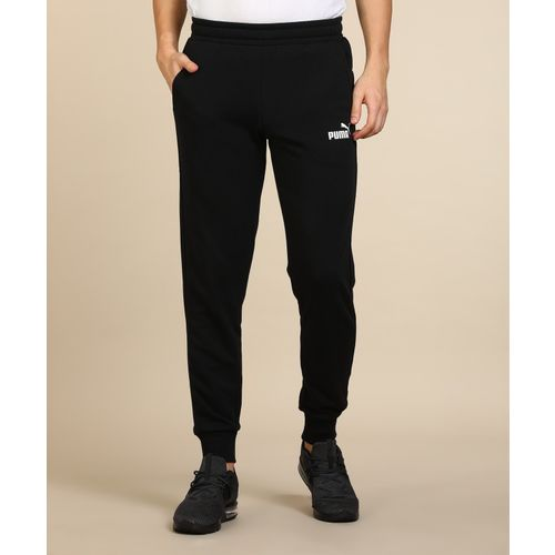 Puma Solid Polyester With Elastic Black Track Pants