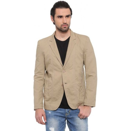 Showoff Solid Single Breasted Casual Men Blazer(Brown)