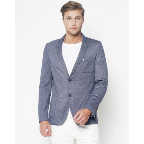 The Indian Garage Co Solid Single Breasted Casual Men's Blazer(Dark Blue)